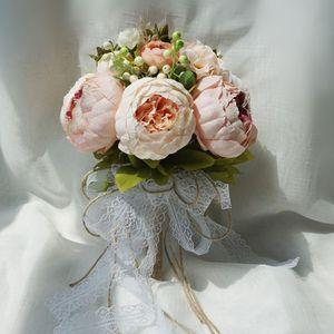 Image 2 - Retro rustik tarzı gelin gelinlik buketleri yapay şakayık sahte gül düğün tutan çiçek uzun kurdele bağı parti dekorasyon