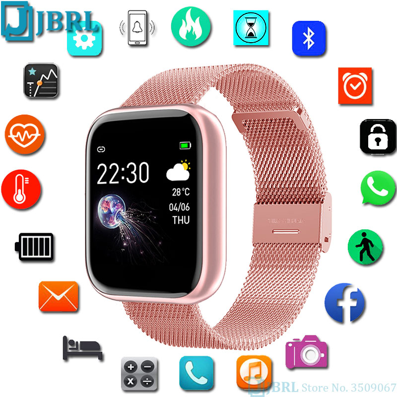 Square Smart Watch Women Men Smartwatch For Android IOS Electronics Smart Clock Fitness Tracker Full Touch Bluetooth Smart-watch