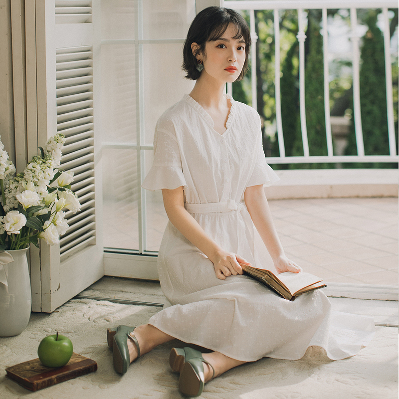 INMAN 2020 Summer New Arrival Cotton Petal Collar Falbala Embroidered Fresh Short Sleeve Dress