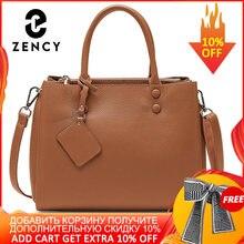 Zency femmes décontracté fourre-tout sac à main 100% en cuir véritable mode gris dame épaule sac à bandoulière de haute qualité sacs de bureau noir