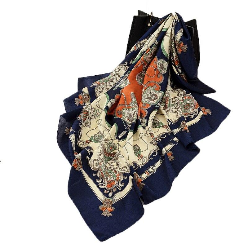 2020 NEW 90x90cm Fashion Women Scarf Feeling Silk Scarf Shawl Scarf Square Heart Star Printed Head Scarves Wraps