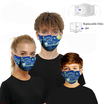 Fashion Unisex Face Mask Van Gogh Starry Night 3D Digital Print Anti Dust Face Masks Facial Protective Cover with 2pcs Filter van gogh starry night mouth face mask starry night van gogh facial mask cool kawai with 2 filters for adult