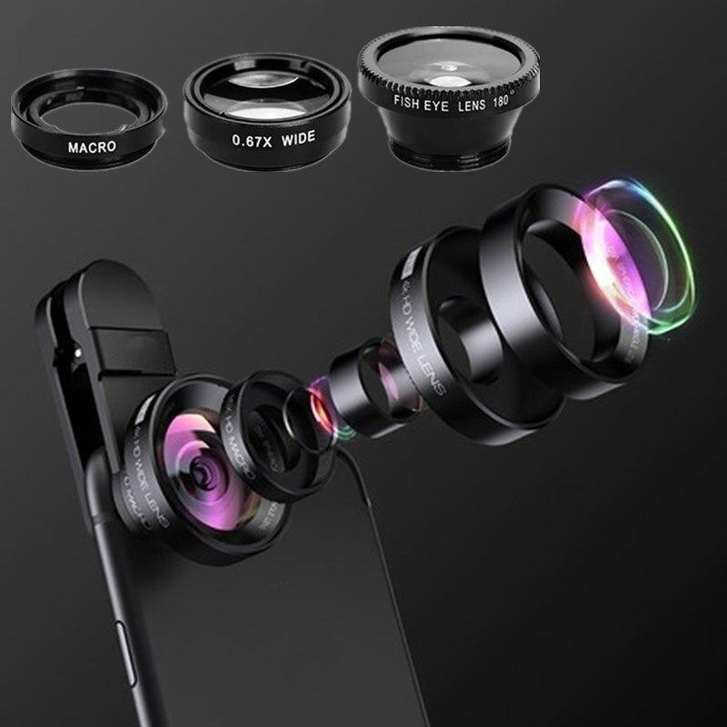 Ojo De Pez gran angular 3 en 1 para iPhone 11 Pro MAX Ojo De Pez Movil Universal para Samsung Note 10 Olho De Peixe
