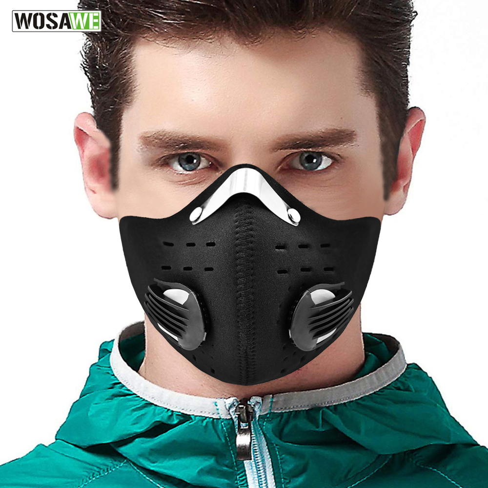 WOSAWE Motorcycle Mask PM2.5 Anti-Pollution Mask Filter Dust Mask Activated Carbon With Filter Bicycle MTB Breathable Face Mask