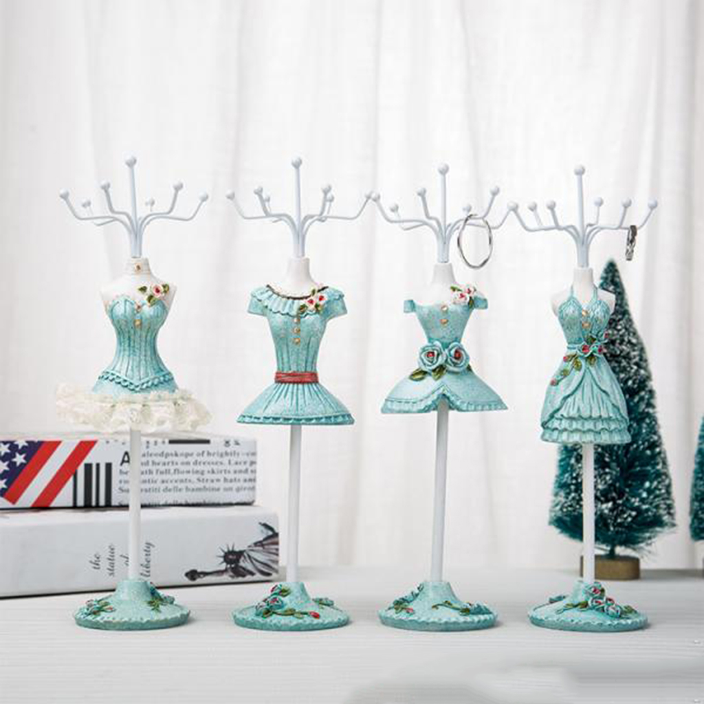 Creative Doll Jewelry Stand Holder Iron Resin Mini Skirt Model Rack Lady Figure Home Decor Jewelry Store Display