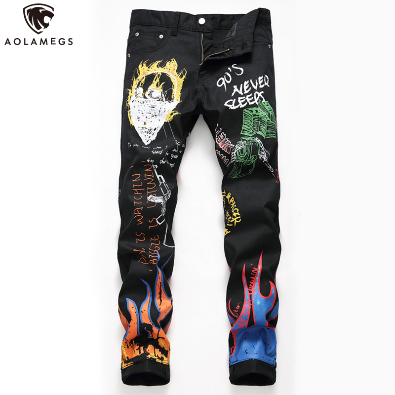 Aolamegs Jeans Men Broken Flame Print Retro Style Denim Cool Letter Print Tight Casual All-match Hip Hop Style Jeans Streetwear