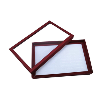 цена на 1pcs Portable Fashion Red 100 Slot Ring Display Stand Metal Earrings Bijoux Storage Box Storage Box Jewelry Display Cabinet