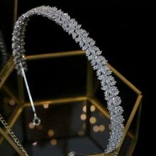 Accessoires pour cheveux CZ de mariée élégante, couronne de cristal de luxe pour dames, bandeau de mariage, accessoires pour cheveux