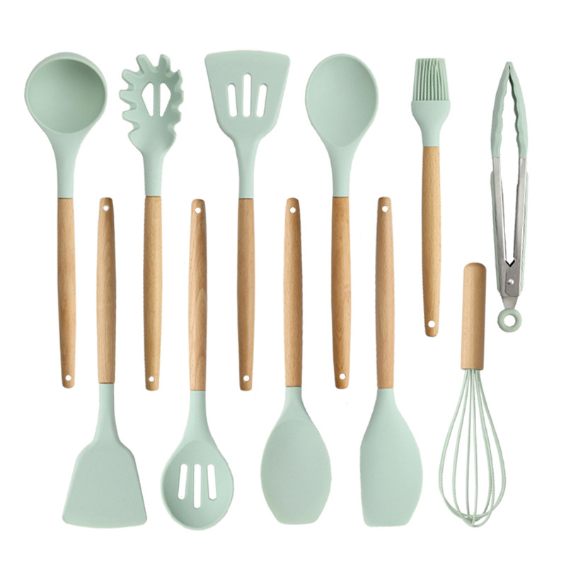 2020 Silicone Kitchenware Set with Wooden Handle Turner Soup Spoon Spatula Brush Scraper Pasta Egg Beater Kitchen Cooking Tools