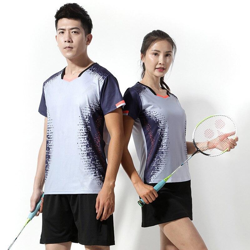 Camisa de Tênis Masculino e Feminino Ternos de Treinamento Peteca Saia Badminton Jerseys Shorts Manga Curta Treino Esportiva &