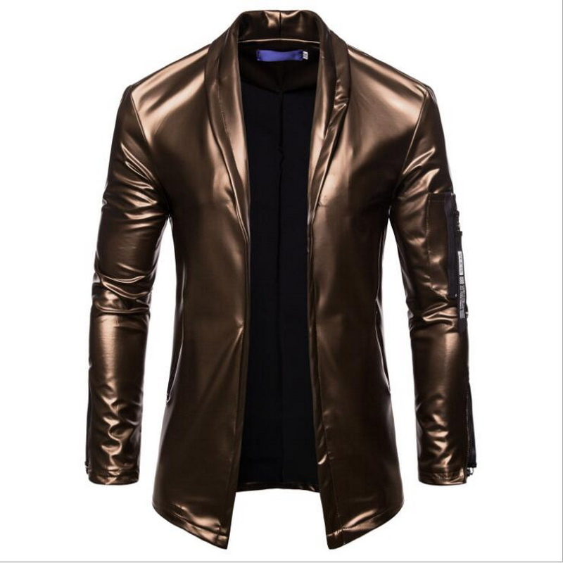Image 2 - Night Club Leather Jacket Men New Fashion Slim Fit Motorcycle Leather Jacket Golden/Silver Blazer Jacket Male Leather Coat-in Faux Leather Coats from Men's Clothing