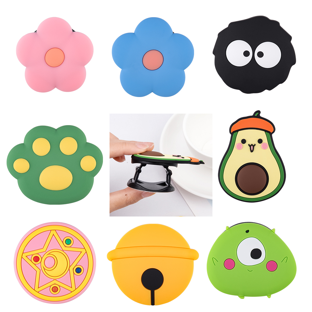 3D Cartoon Silicone Fold Finger Grip Mobile Phone Holder For Xiaomi For Samsung Cute Silicone Holder Pasteable Stand Bracket