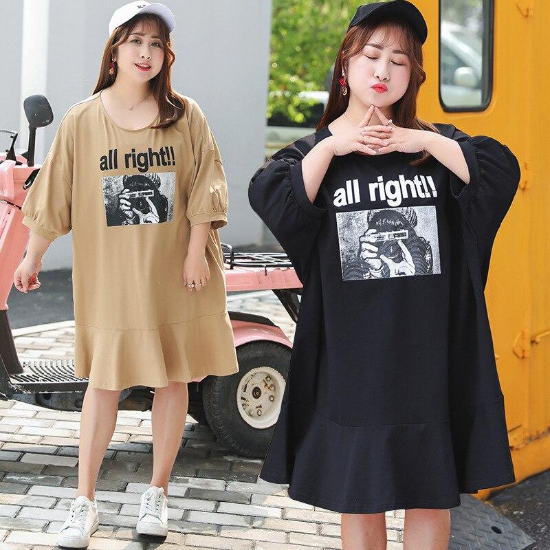 2019 Summer Wear New Style Plus-sized WOMEN'S Dress Long T Skirt Oversize Loose Dress On Behalf Of Y6546