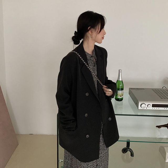 2021 Free Shipping Spring Autumn New Loose Black Coat Suit Women Fashion Simple Commuter Work Wear Jacket 3