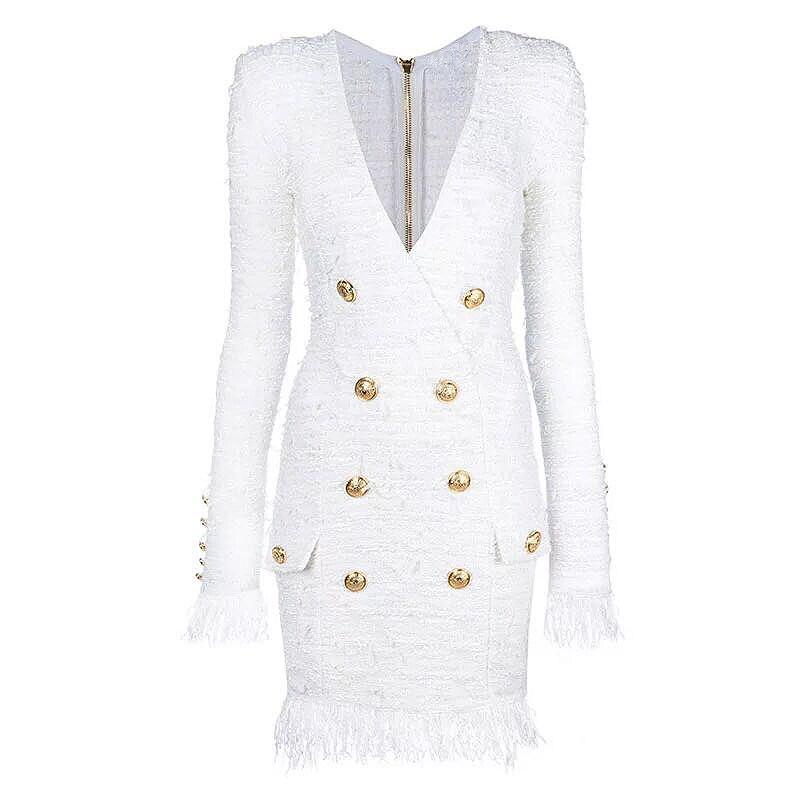 높은 품질 2020 가을 겨울 최신 디자이너 드레스 여성의 v-목 긴 소매 사자 단추 술 드리 워진 트위드 드레스