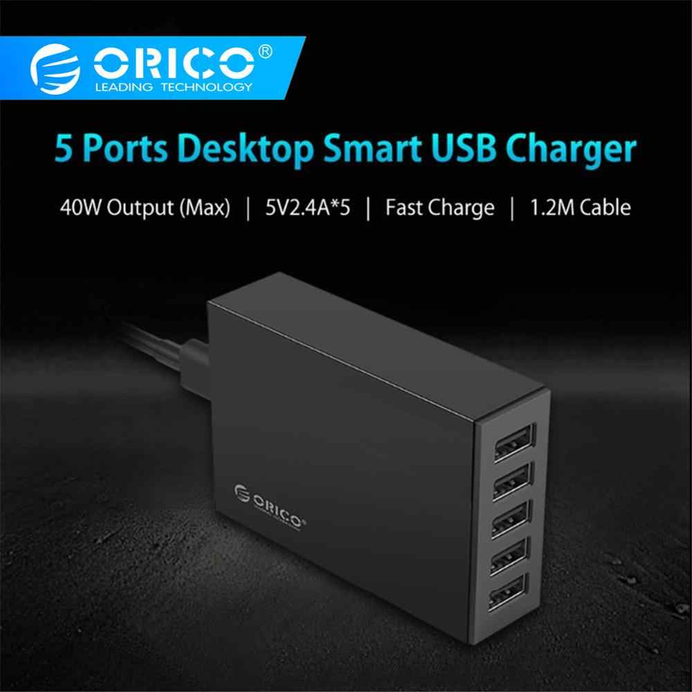 Orico CSL-5U 5V2. 4A Uni Eropa US Plug Desktop Charger Adaptor 8A40W 5 Port USB Travel Charger untuk iPhone 6 S 7 Xiaomi Samsung HTC-Hitam