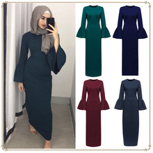Winter Dresses Women 2019 Stylish Simple Solid Color Trumpet Sleeve Dress Long Sleeve O-neck Women Clothes Boho Style Long Dress все цены