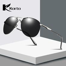 Korto Men Sunglasses Polarized Brand Design Metal Frame Oversized Spring Leg Alloy Pilot Male Sun Glasses Driving Glasses Black stylish golden alloy leg matte black frame sunglasses for women