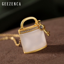 925 Sterling Silver Gold Plated Jade Lock Key Pendant Necklace Choker Trendy Vintage Designer Necklaces Fine Jewelry Women Gift