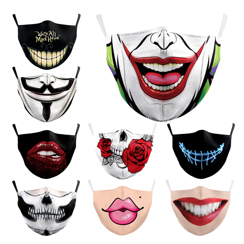Adult Masks Washable Print Cartoon Face Mask Pm2.5 Filters CAotton Floral Prints Masks Face Unisex Dust-proof Mouth Cover Mask