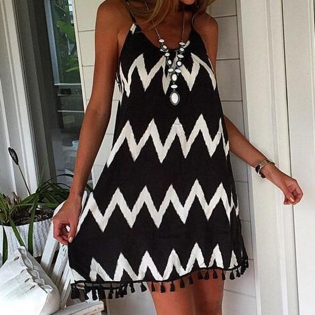 vestido de mujer Women Summer Sexy wave pattern tassel strap Sleeveless Holiday Dress femme robe