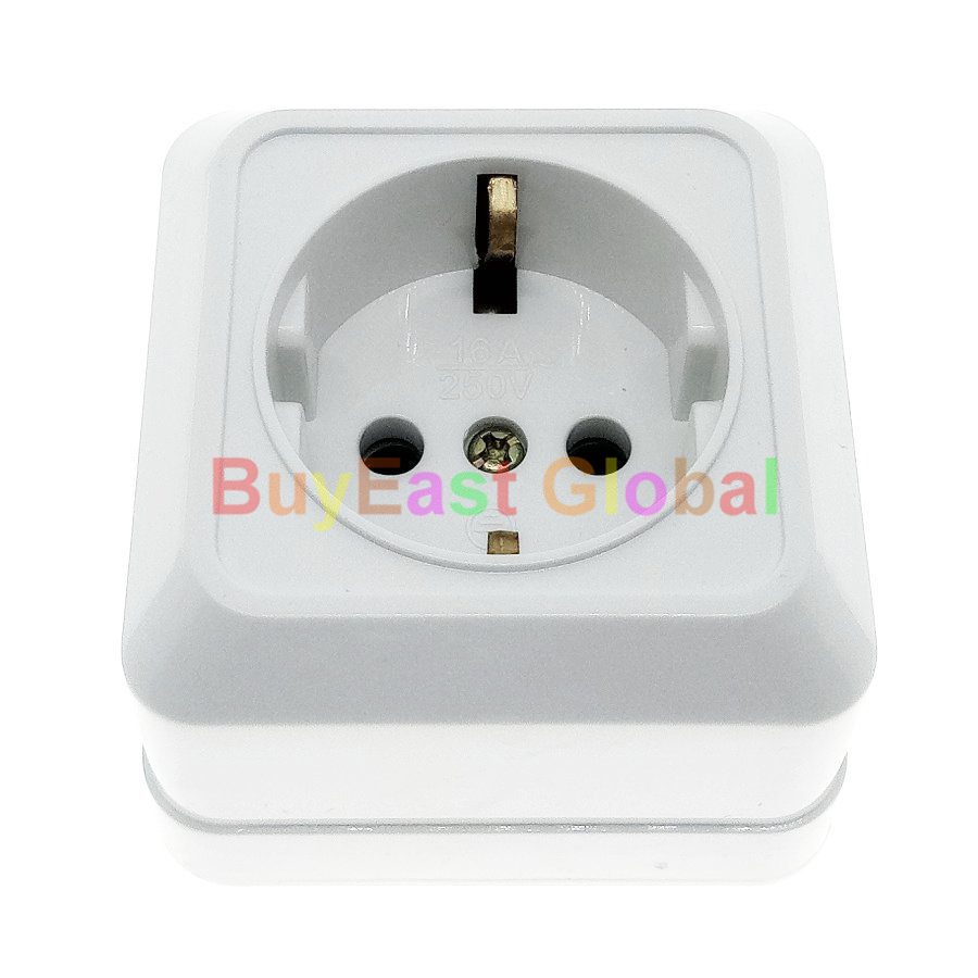 EU Schuko (Type F) Surface Wall Mount Power Socket Outlet Max AC 250V 16A CE Cert