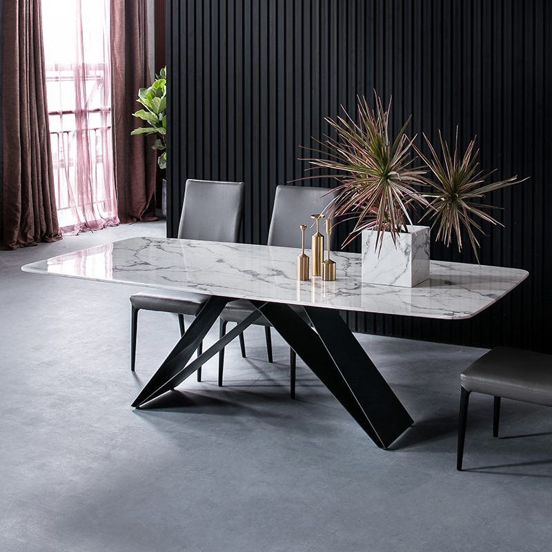Minimalist Style Marble Dining Table Wrought Iron Light Luxury Personality Dining Table And Chair Combination Rectangular