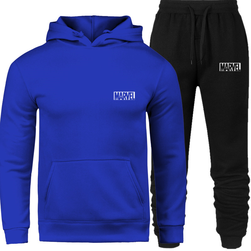 Hoodied Printed Sports Suit For Men And Women Fashion Cotton Sweatshirt + Sweatpants Suit Casual Long-Sleeved Pullover Hoodies