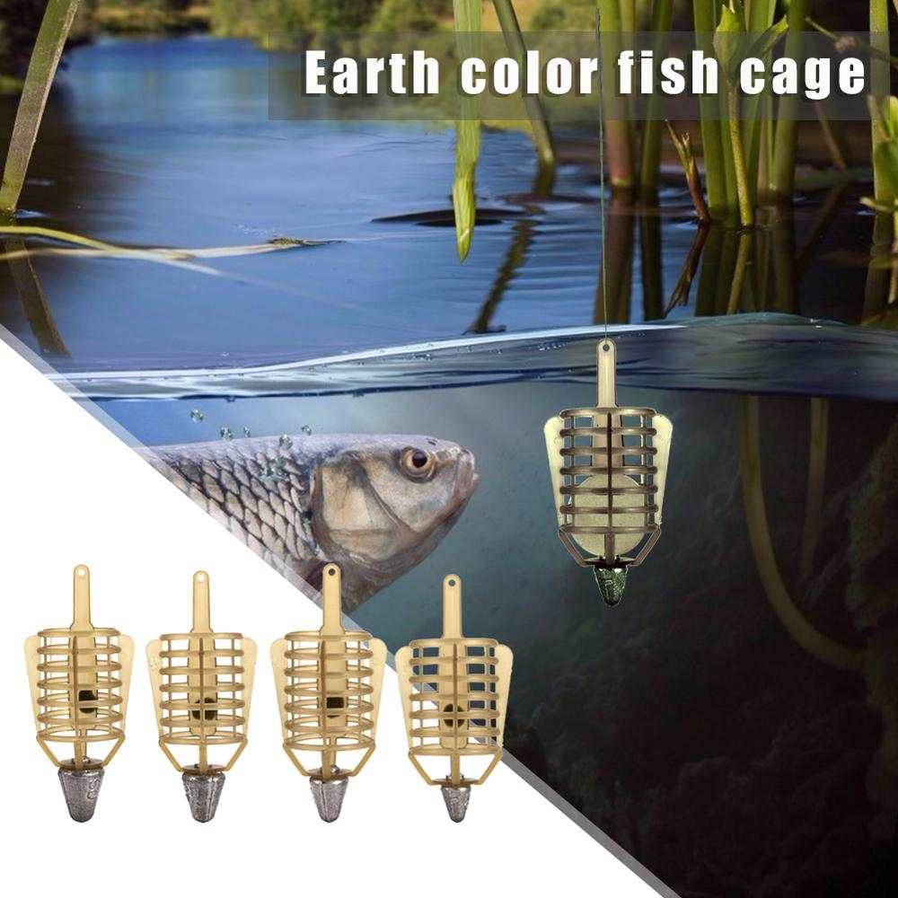 1pc Boat Fishing Bait Feeder Cages Bait Cage Fishing Connector Lead Sinker Feeder Fish Tackle Pesca Iscas Tool Accessories