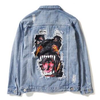 Vintage Denim Jacket Coats Men 2019 Hip Hop Casual Ripped Distressed Jeans Jackets Male Streetwear Coat Dog Print