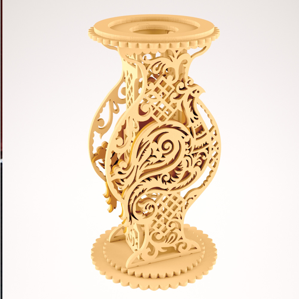 Bird Style Vase Creative 2d 3d Vector Design Drawing Dxf Format Files For CNC Laser Cutting Files