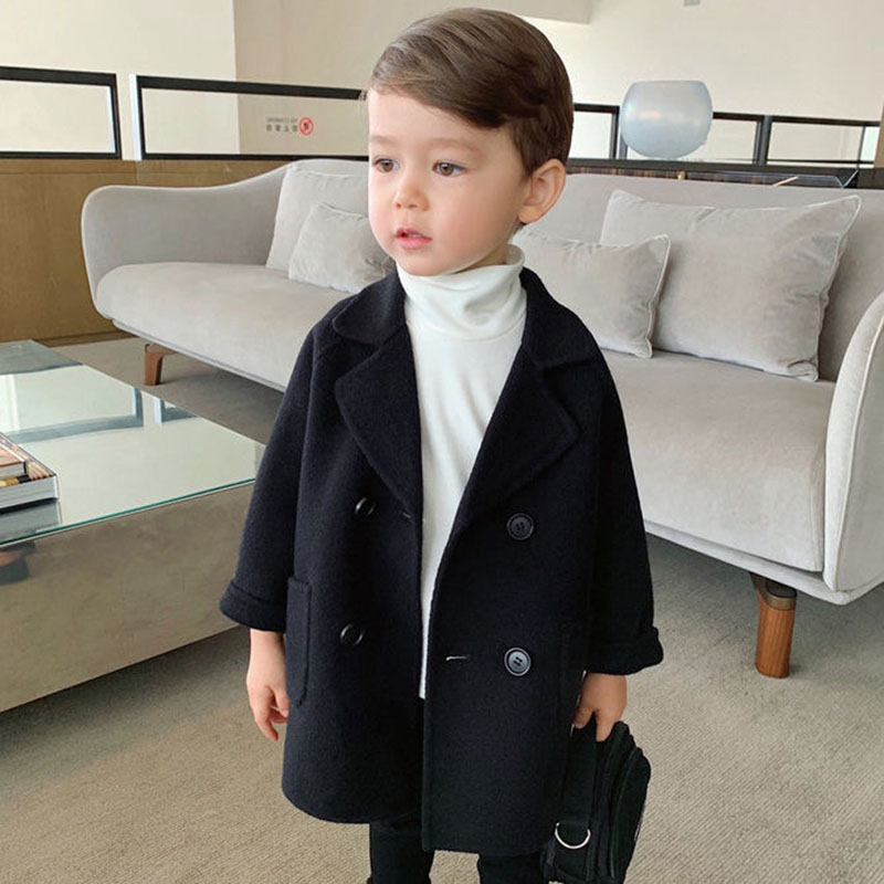 2020 Autumn And Winter Toddler Wool Coat The New New Year Costume For Boy Double-sided Cotton Padded Wool Coat For Boys