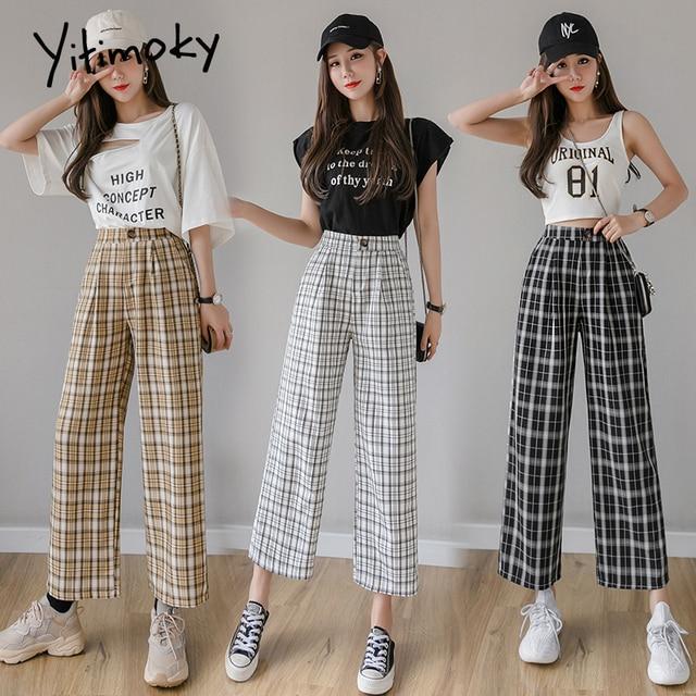 Yitimoky Vintage Plaid Pants Women High Waist Plus Size Wide Leg Casual Female Trousers 2021 Summer Joggers Clothes Streetwear 2
