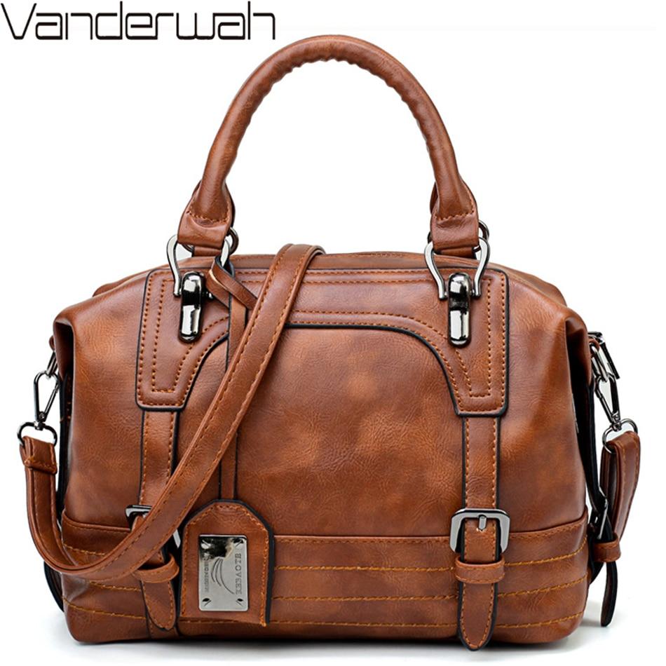 Vintage Belts Luxury Handbags For Women Leather Shoulder Bag Designer Female Casual Tote Bag Sac A Main Femme Ladies Hand Bags