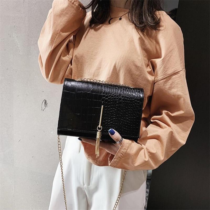 Fashion Shoulder Bags For Women 2020 Messenger Bag PU Chain Stripe Fringe Crossbody Bag Solid Handbag Leather Small Flap Bags