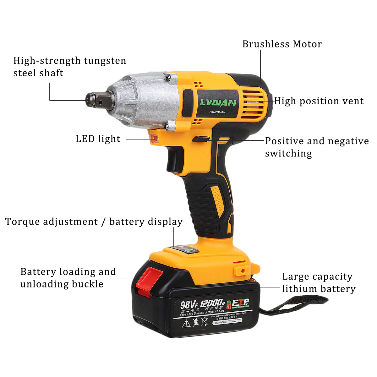 DRILLPRO Electric Wrench 98VF 1 2inch Brushless Cordless Electric Impact Wrench Drill with 12000mah Battery LED lights Power Tools