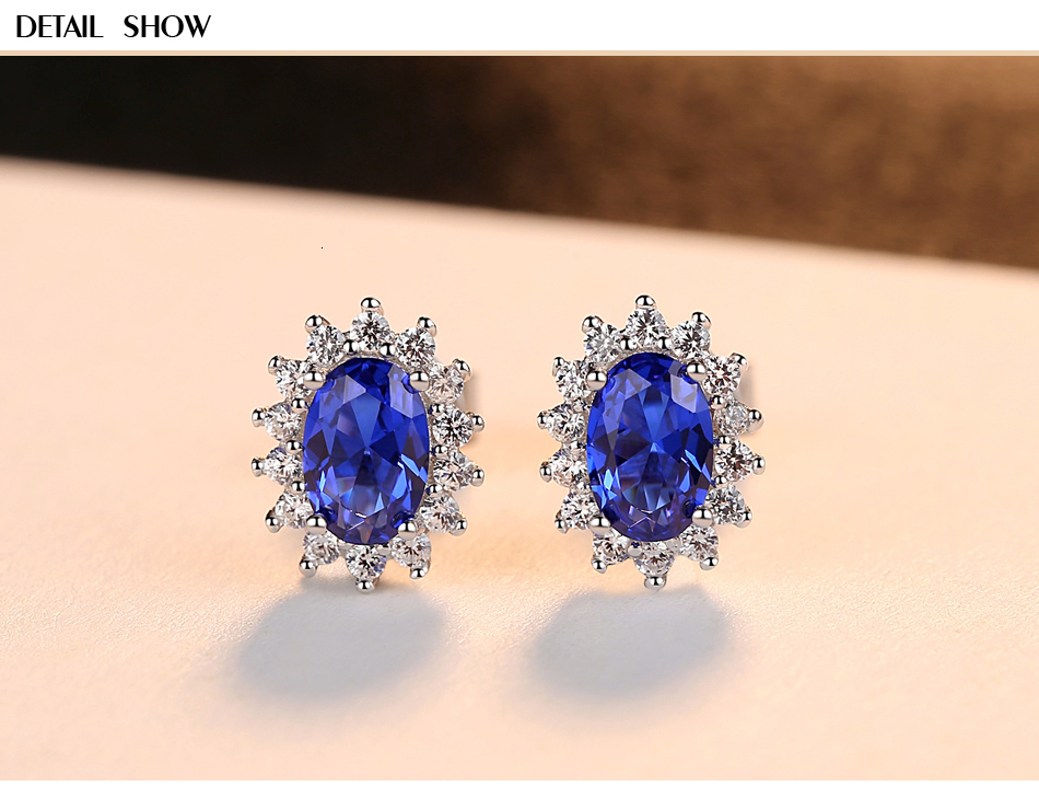 H444b410067d84fa6a828e676ffb4f020s CZCITY New Natural Birthstone Royal Blue Oval Topaz Stud Earrings With Solid 925 Sterling Silver Fine Jewelry For Women Brincos