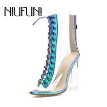 NIUFUNI 2019 Sexy Women Ankle Boots PVC Transparent High Heels Rain Summer Shoes Woman Gradual Green Peep Toe Botas Mujer