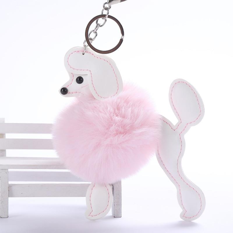 Dog Schlüsselanhänger Schlüsselring Hund + 4 Charms Poodle Schwarz Pudel