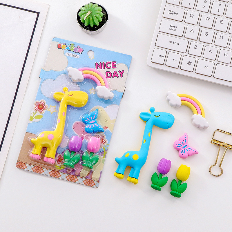 5 Pcs/pack Giraffe Rainbow Erasers Cute Flower Writing Drawing Rubber Pencil Eraser Stationery For Kids Gifts School Supplies