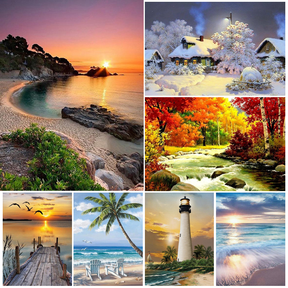 5D DIY Diamond Painting Landscape Sunset Cross Stitch Kits Full Drill Square Embroidery Mosaic Art Picture of Rhinestones Gift