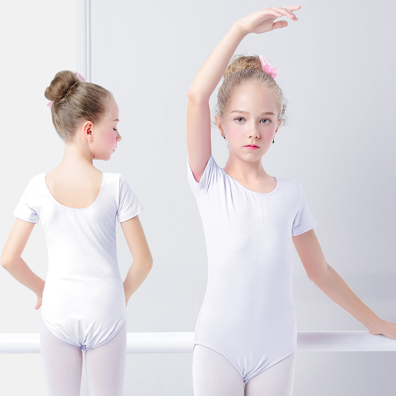 Girls Kids Gymnastics Leotard Cotton Spandex Ballet Leotards Short Sleeve Black Ballet Clothes Dancewear