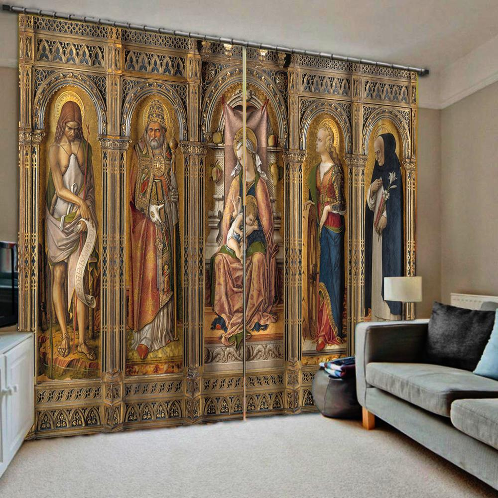 Europe Roman Angel Curtains Bedroom 3D Window Curtain Luxury Living Room Decorate Cortina
