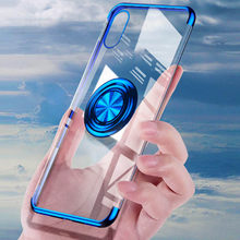 Plating Transparent with ring Case For Vivo X27 V15 Pro X23 S1 X27 Pro X9 V15 X9S Soft Silicone cover(China)
