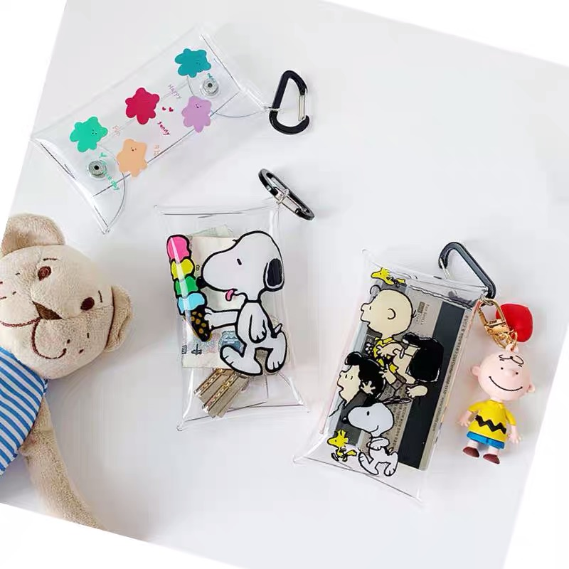 INS Peanuts Snoopy Kawaii Cartoon Transparent PVC High Capacity Pencil Bag Storage Bag Purse Card Package Learning Storage Tool