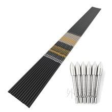Coluna 350 400 450 500 600 700 750 800 900 v1 setas de carbono eixo + 12 pçs 100gr aço inoxidável dicas arco tiro com arco caça