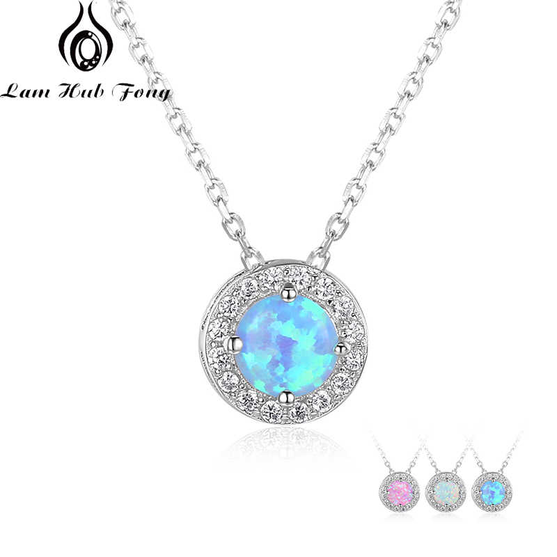 Round Pink White Blue Opal 925 Sterling Silver Pendant Necklaces Cubic Zirconia Circle Necklace Birthday Gifts (Lam Hub Fong)