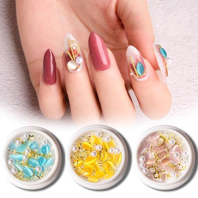 Фото 1 коробка смешанные 3d стразы для ногтей металлические штифты цена