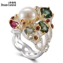 DreamCarnival 1989 nieskończoność kolory serii kobiet pierścienie dwa odcienie kolory powlekane wspaniały błyszczący cyrkon biżuteria dnia WA11693