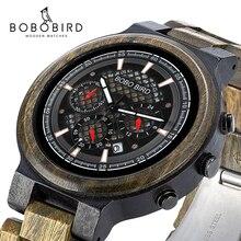 BOBO BIRD นาฬิกาไม้ส่วนบุคคลนาฬิกาชายสำหรับเขา Handmade น้ำหนักเบา Chronograph วันที่ Casual relojes ทหาร